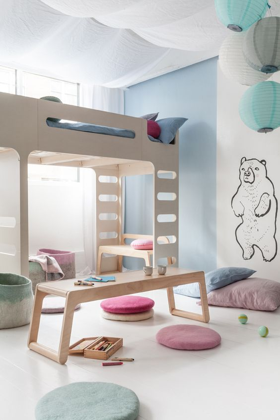 28 play space with a bench and desk in one under the sleeping area