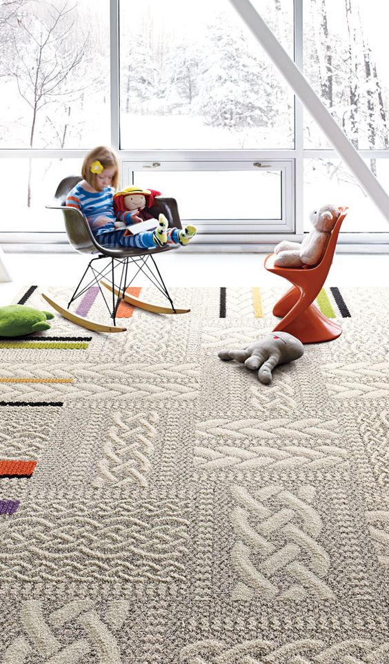 sweater-pattern thick carpet flooring to make a kid's room cozier
