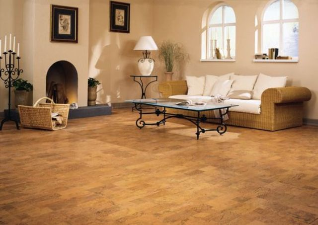 warm natural cork floors for a vacation home living room