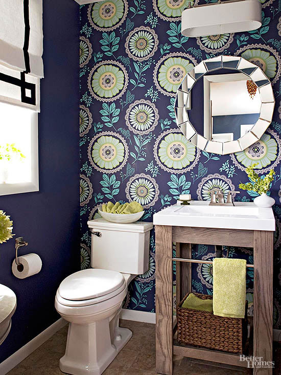 add a visual accent to a small and boring space like this powder room