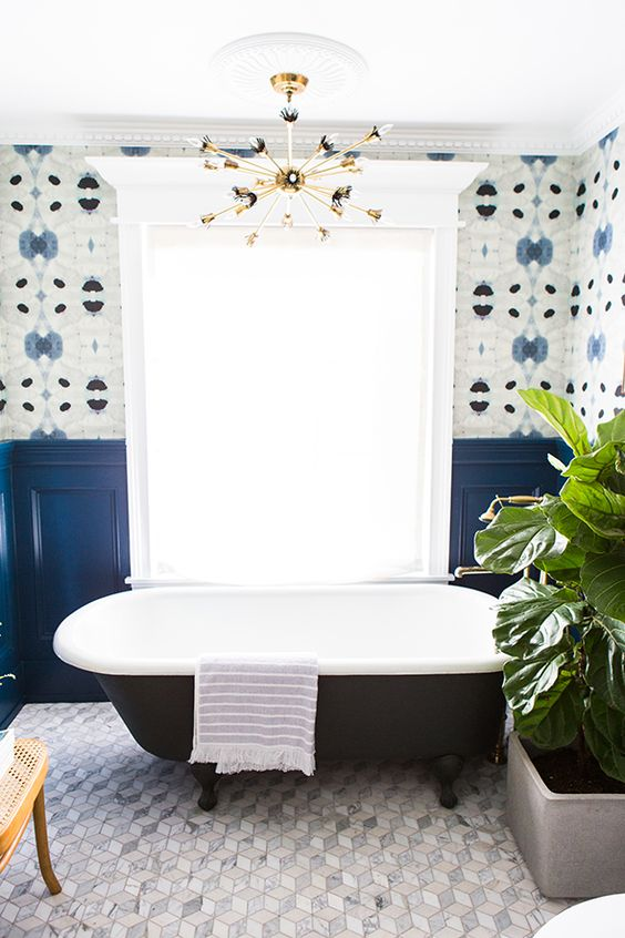bold blue panels to highlight the wall pattern