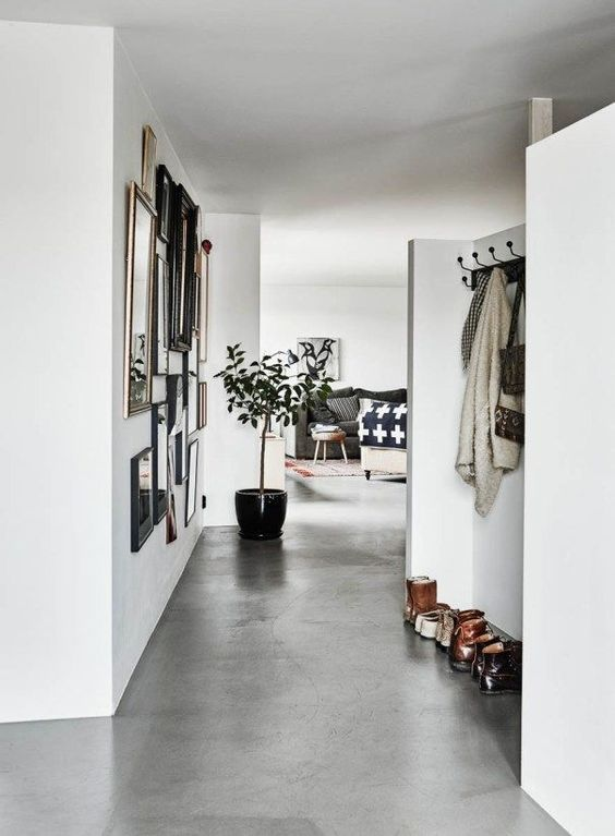 concrete floors are durable and water resistant, which makes them perfect for entryways