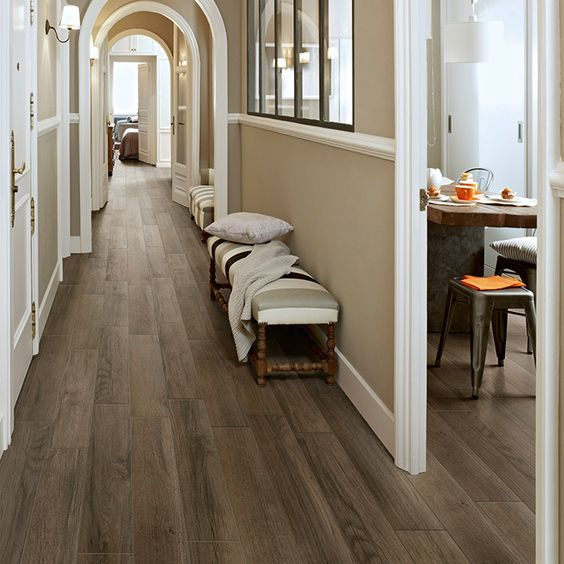 porcelain plank tile with a classic hardwood look