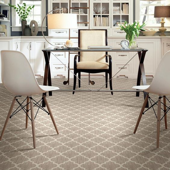 taupe loop pile carpet floors for a home office