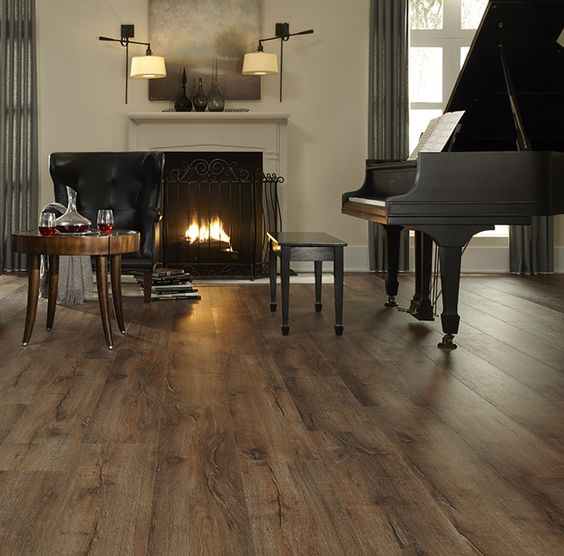 vinyl plank flooring imitating vintage wooden floors