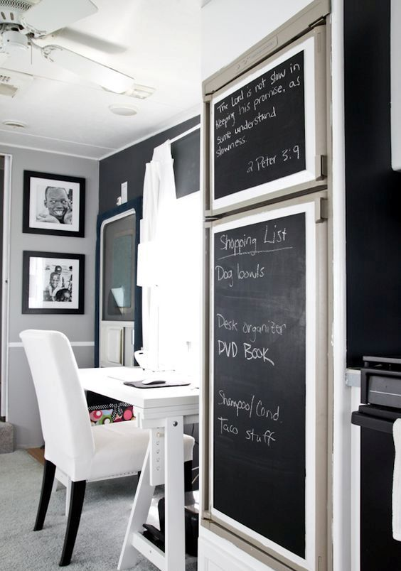 framed chalkboard to cover the ugly panels
