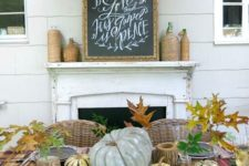 30 rustic tablescape, pumpkins, leaves, chalkboard chargers, plaid scarf