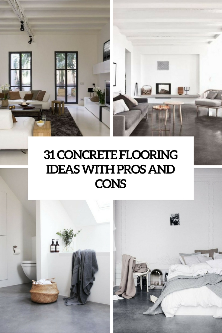 31 concrete flooring ideas with pros and cons digsdigs for Concrete floor covering ideas