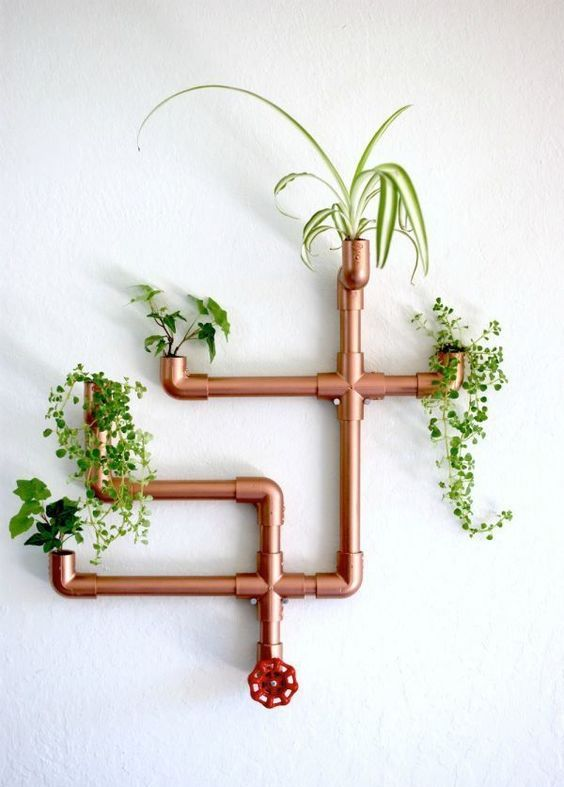 copper PVC wall planter