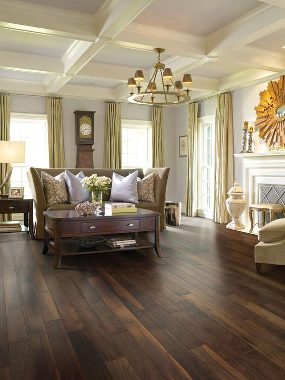 31 hardwood flooring ideas with pros and cons digsdigs for Living room designs with dark hardwood floors
