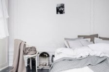 31 grey polished concrete floor in a bedroom as it's eco-friendly