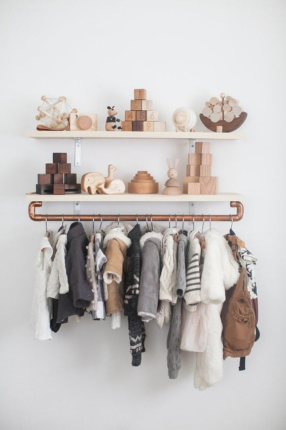 industrial makeshift closet for a boy