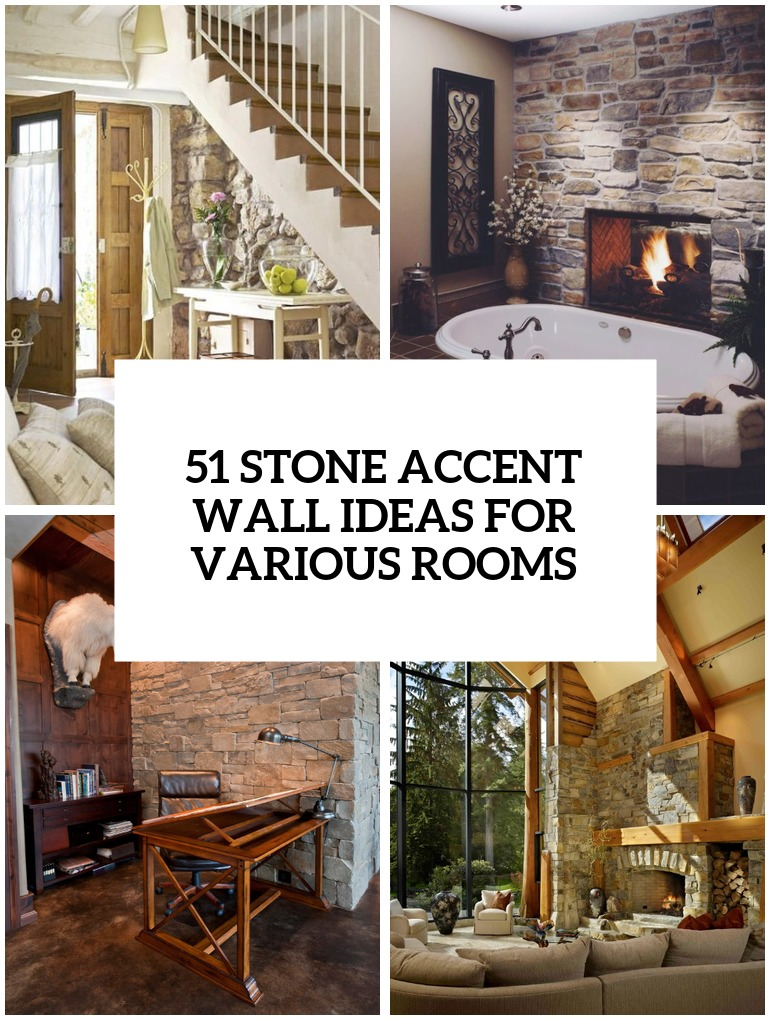 stone accent wall ideas for various rooms cover