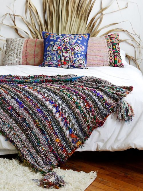traditional woven blanket and pillows
