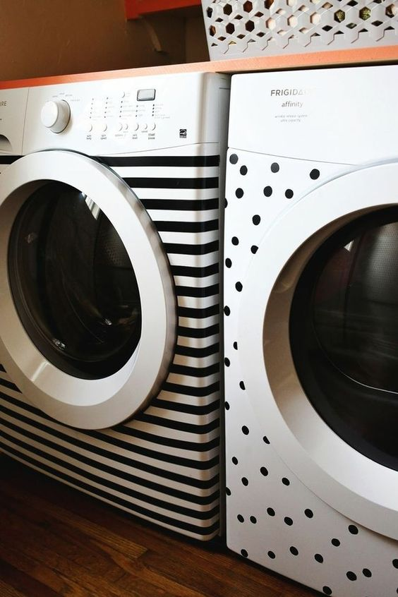 use tape to cover your washing machine and dryer to make them look cool