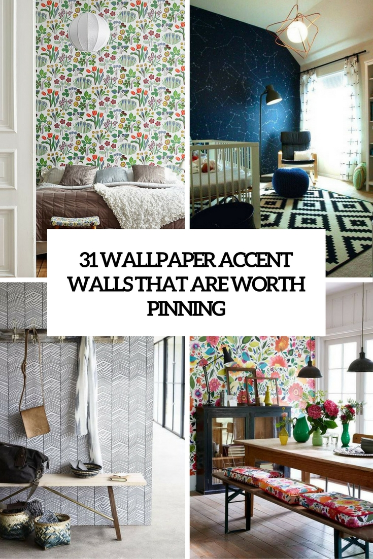 31 wallpaper accent walls that are worth pinning digsdigs for Wallpaper accent wall ideas living room