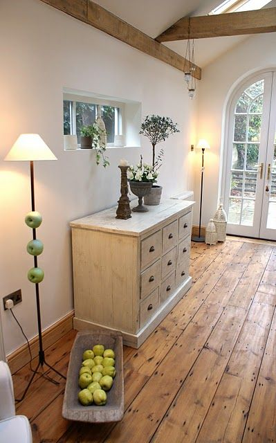 wide plank bamboo floors for a rustic entry