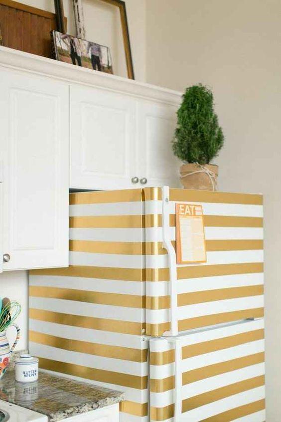 washi tape striped fridge decor