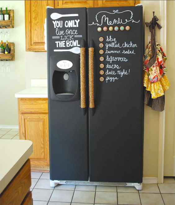 chalkboard fridge finish and rope covered handles