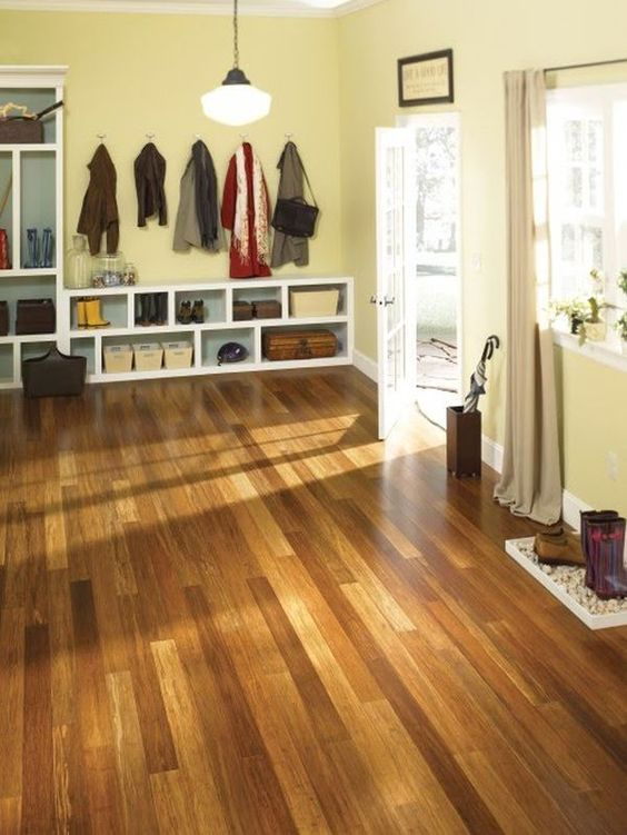 colorful bamboo floors for a modern mudroom
