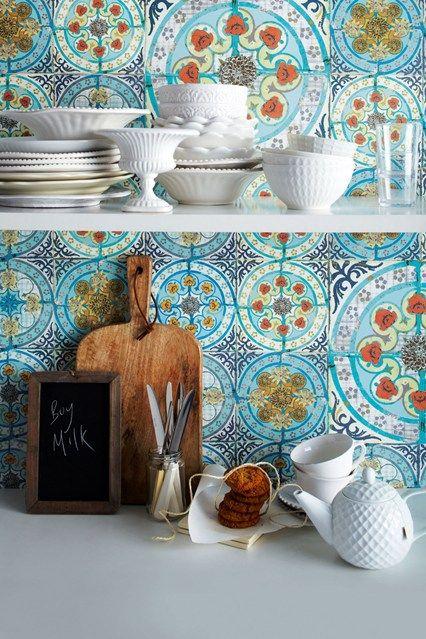 blue and ocher tiles for a backsplash