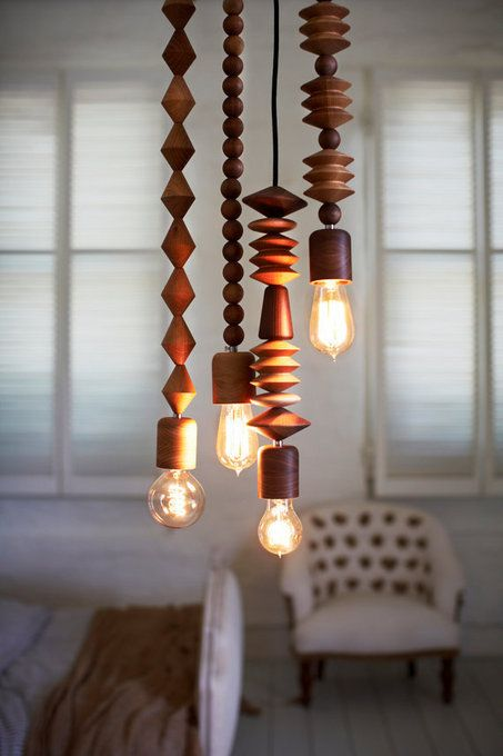 oversized wooden beads to make the cords pretty
