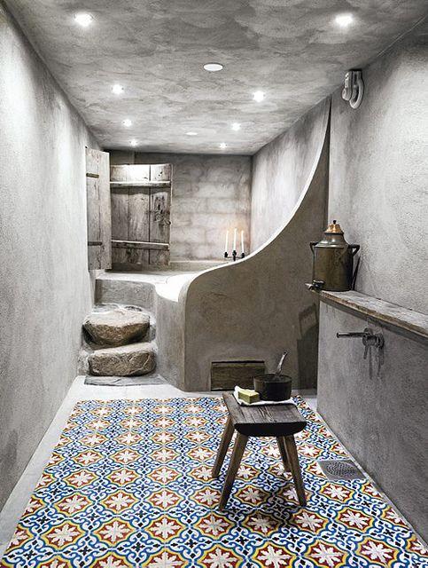 hammam style bathroom with tiles on the floor