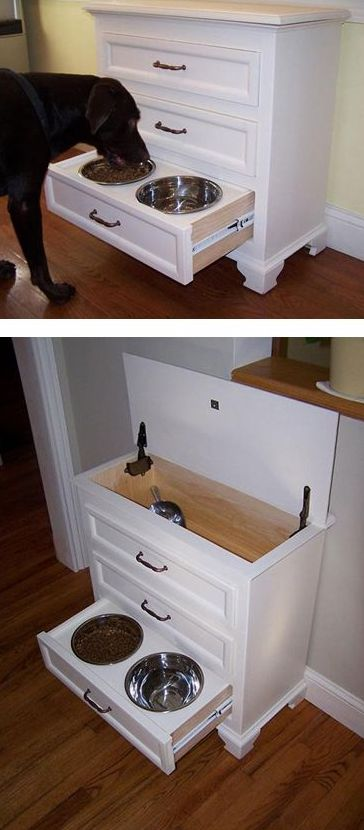 pet-feeding hutch from a salvegaed dresser with a built-in food drawer