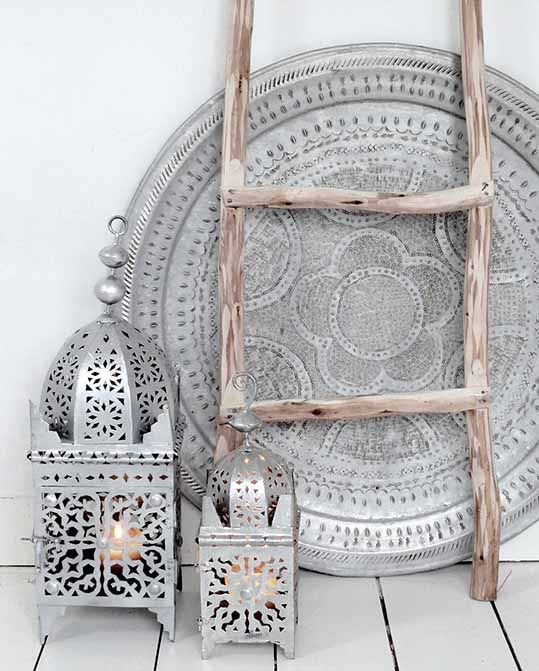 aluminum lanterns and a matching dish