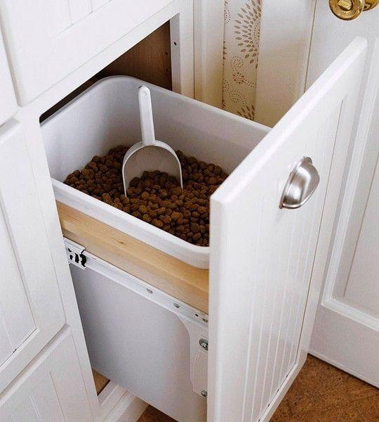 in-cabinet dog food bin