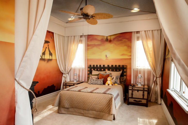 Wall murals are perfect to design a kids room inspired by Lion King and safari themes. (FrazierFoto)