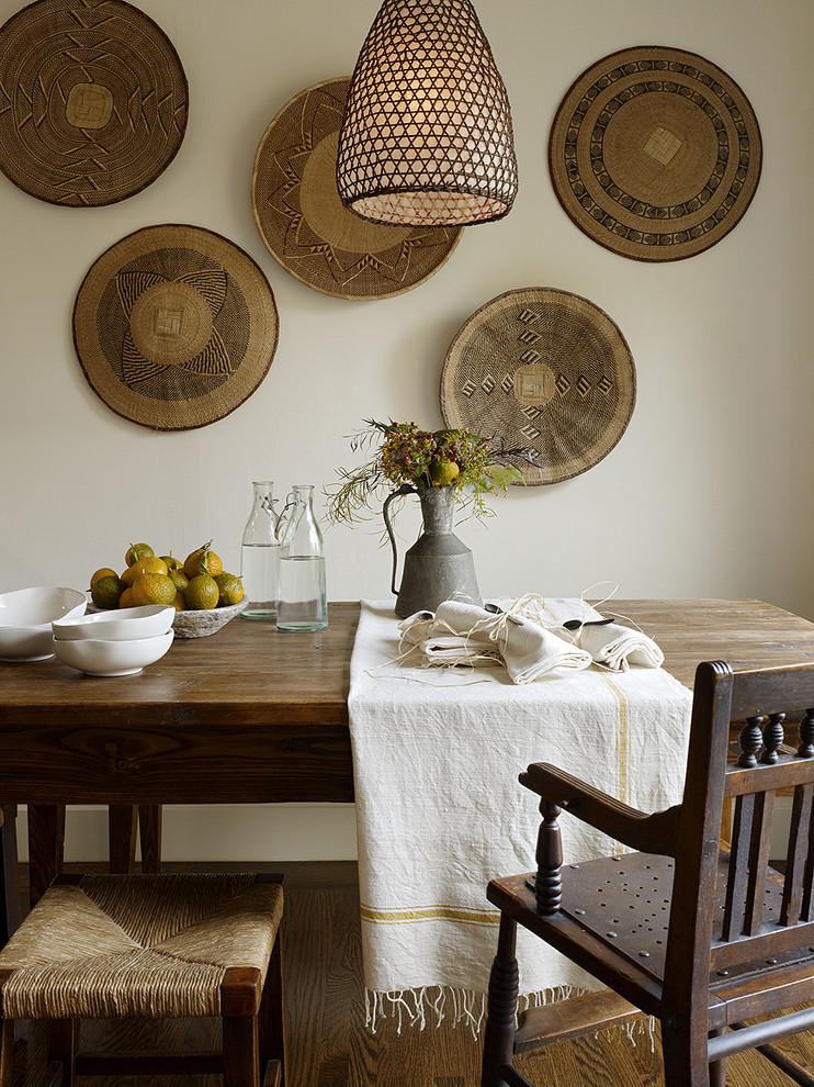 African bowls are perfect to display on a dining room's wall. (Jute Interior Design)