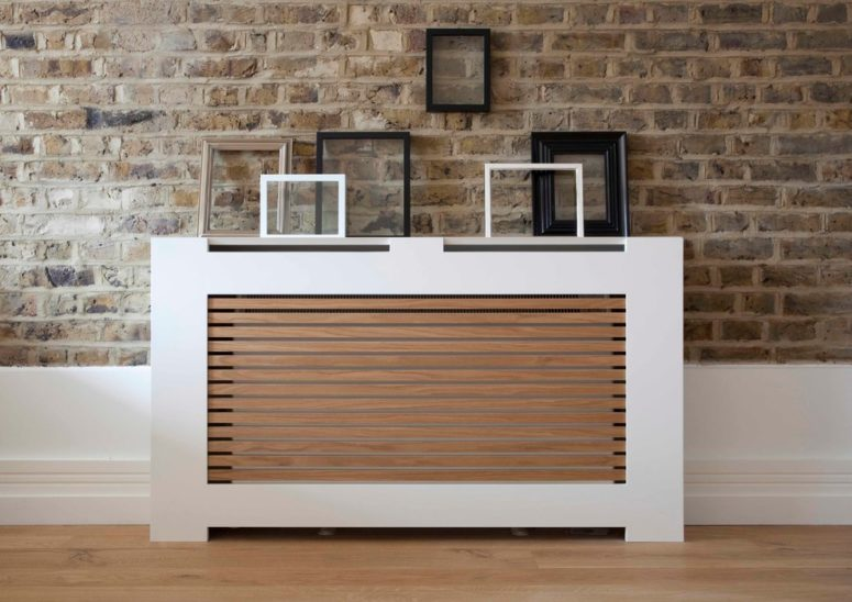 a combo of a white frame and wooden screening would turn any radiator into an amazing part of your decor