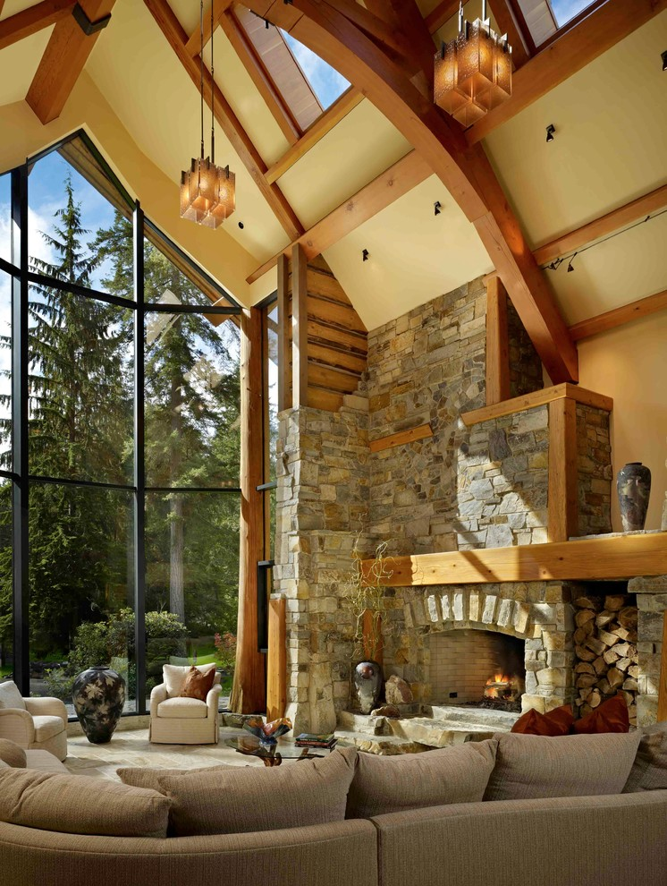 If you have a fireplace then a stone accent wall around it is a must. (Montana Rockworks, Inc)