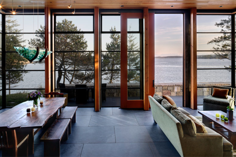 Slate floor looks great with stone walls and natural wood. (Prentiss Balance Wickline Architects)