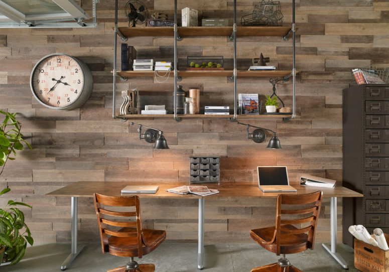 The warm texture of a barn wood wall is great for a cozy home office. (Eldorado Stone)