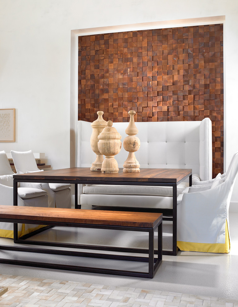 Using wood blocks to cover a wall is a great solution for a small niche. (Beckwith Interiors)