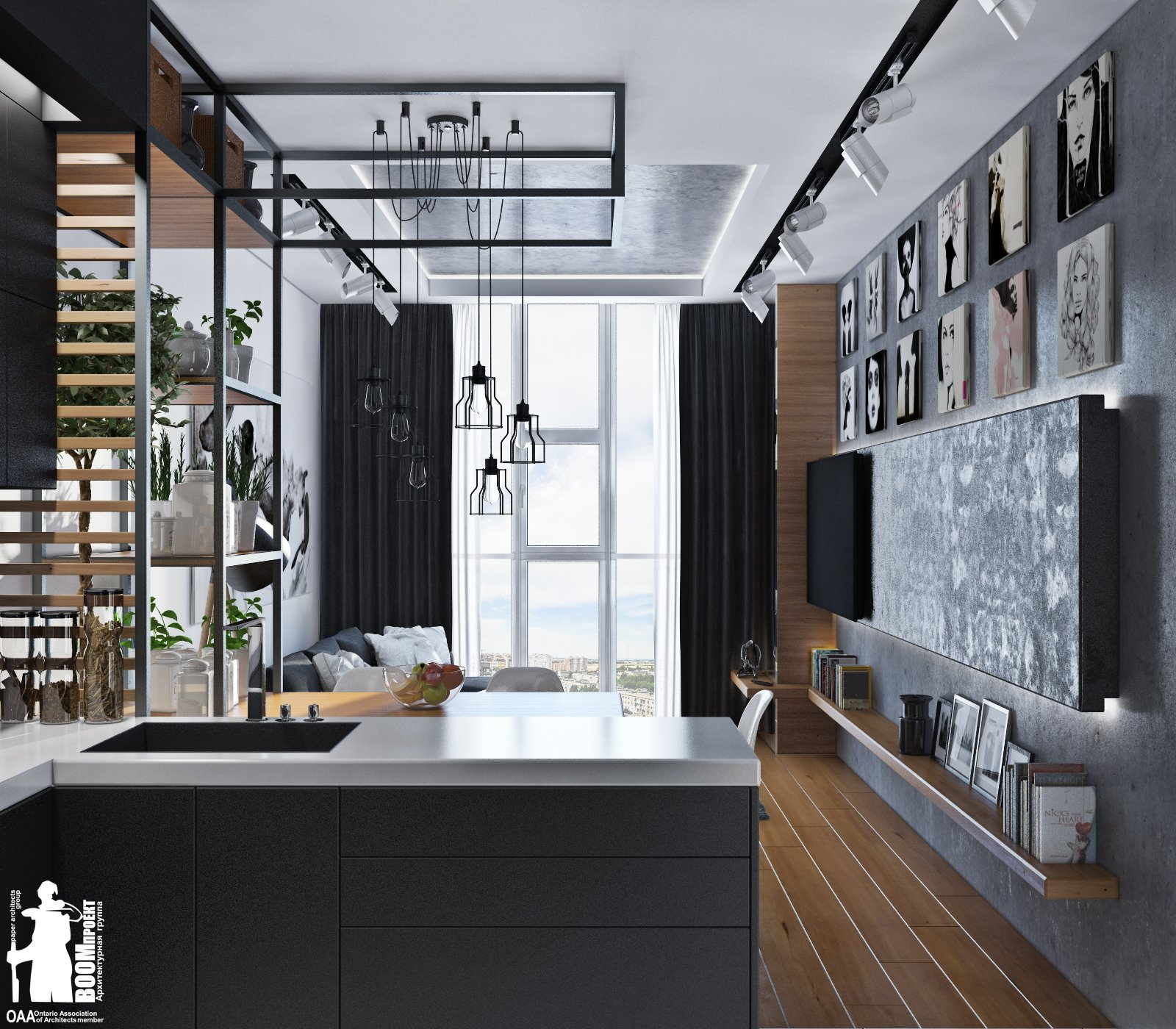 A loft kitchen united with a dining space and a living room