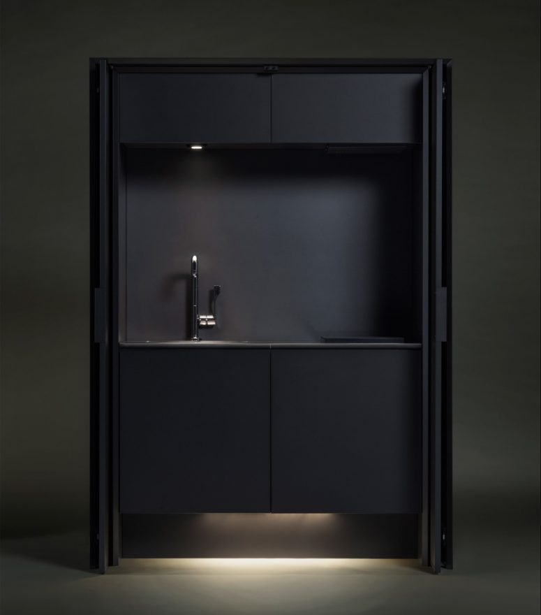 Affilato Hide unit has a sink and cooking area with lights, it can be closed like a wardrobe to keep the kitchen uncluttered
