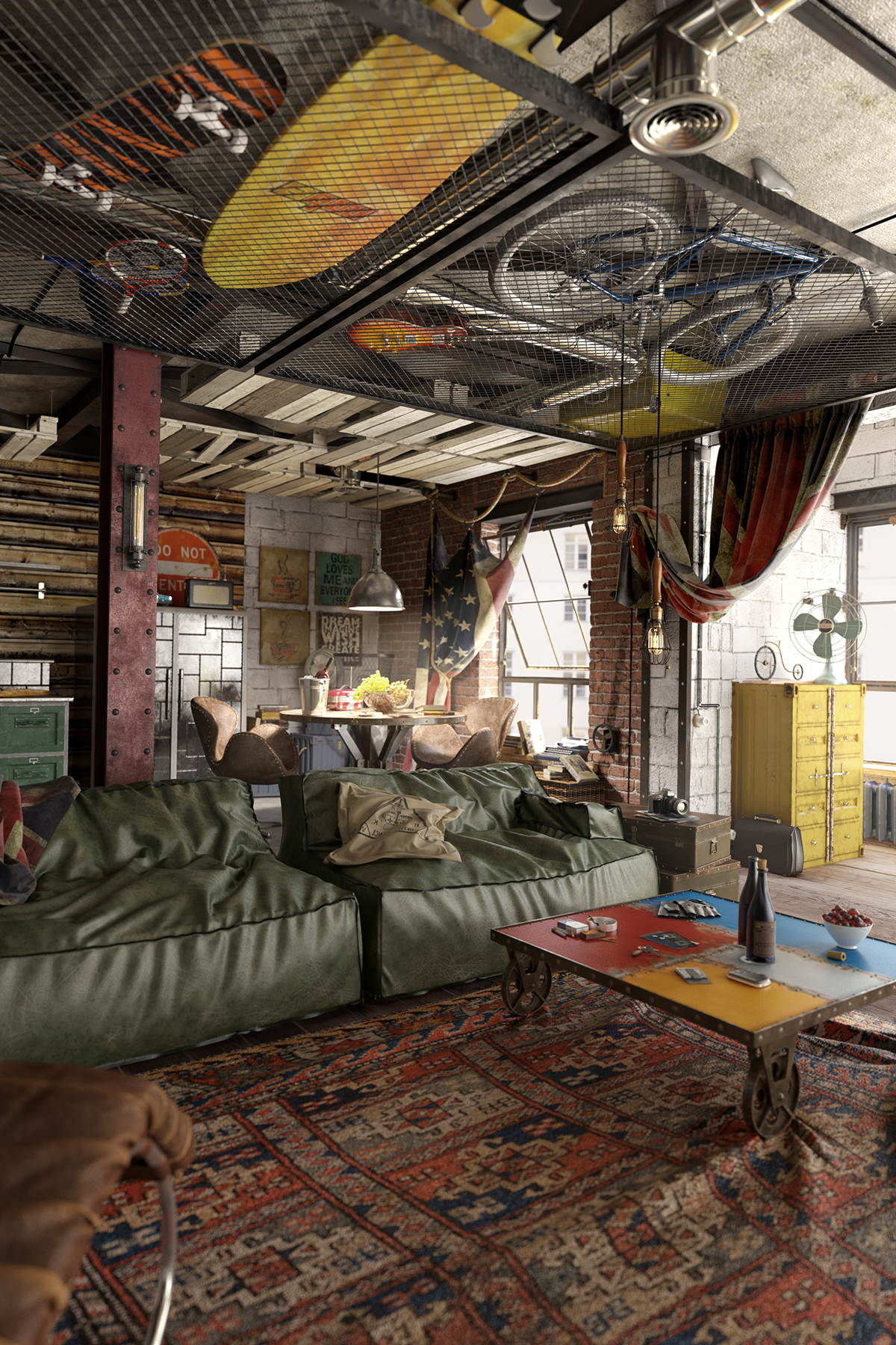 Industrial loft with a masculine character that reflects all the preferences of the owner