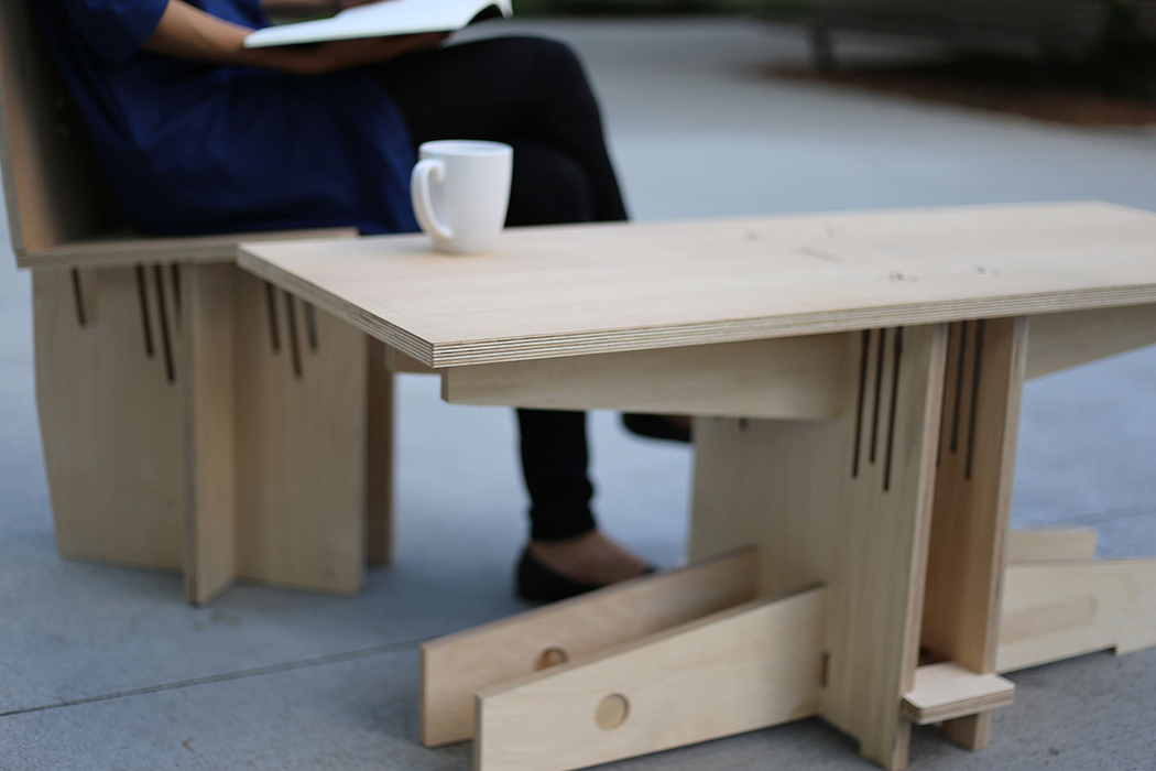 Inspiration for this furniture colelction came from clever wood joinery used for ages by Chinese architects