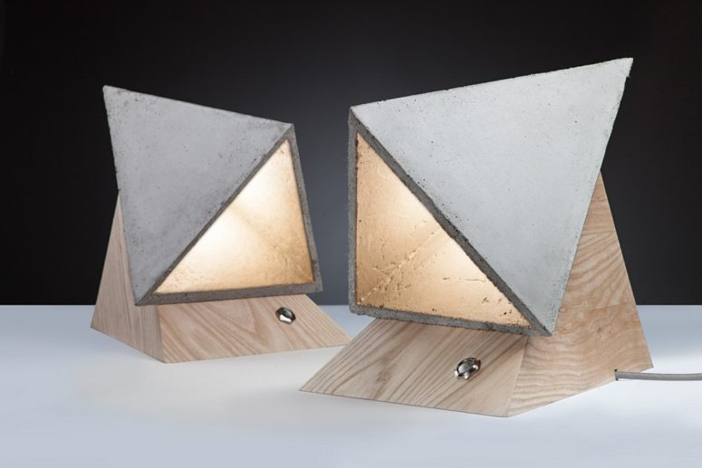 Geometric Monk Lamp Of Wood And Concrete