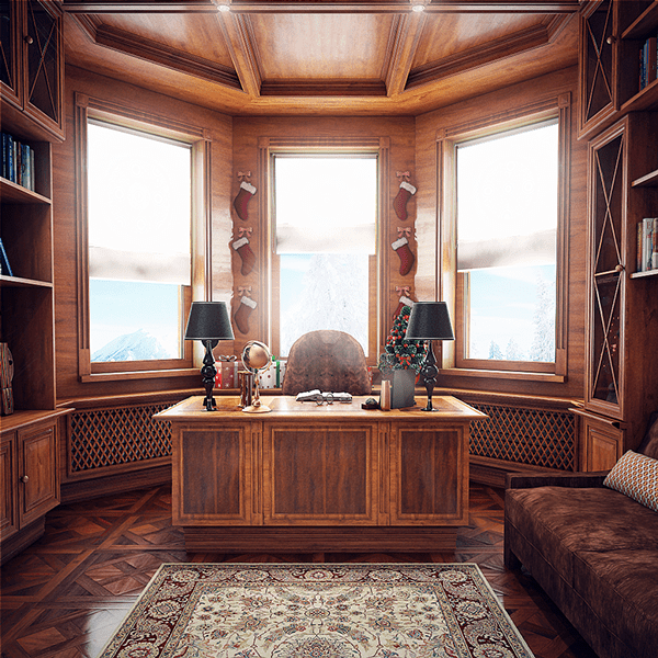 wood clad home office design - Traditional Home Office