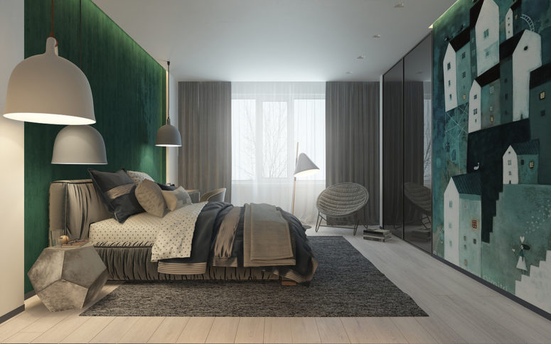 This boy's room has bold accents in a not common color   emerald