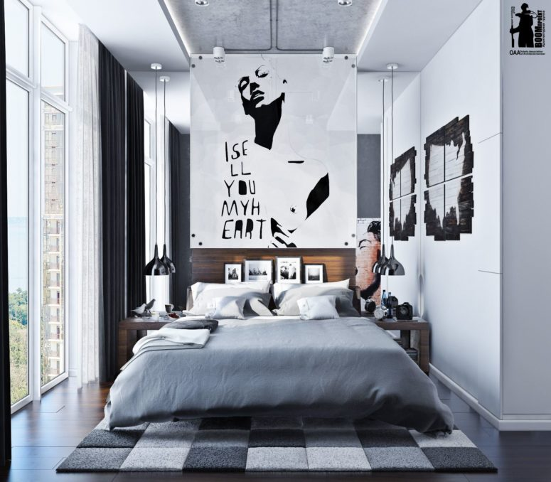 This chic urban bedroom is decorated in modern  even minimalist style with  industrial touches. Modern Urban Bedroom Decor In Grey And White   DigsDigs