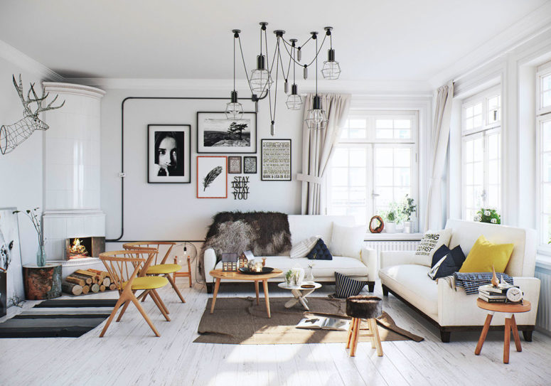 Airy Scandinavian Apartment With Traditional Wood Stoves Digsdigs