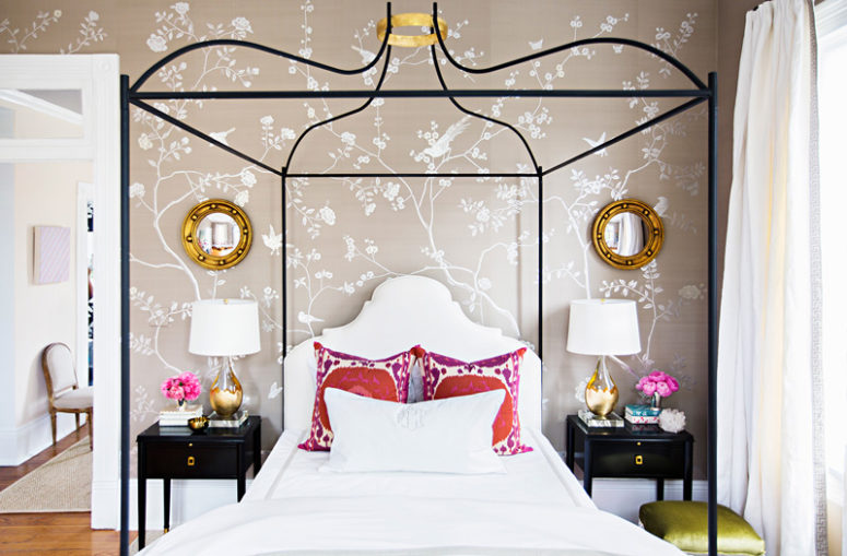 Feminine Bedroom With Glam Touches And Silk Wallpaper