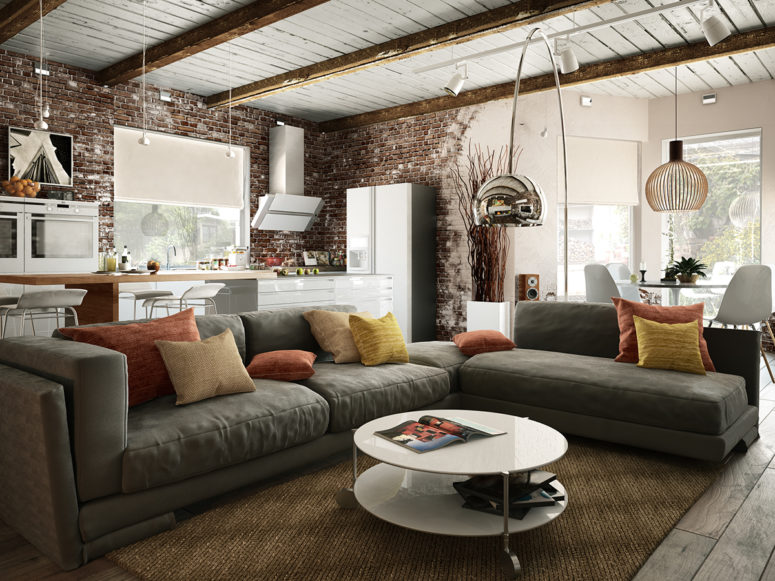 Small Industrial Apartment With Exposed Brick Walls