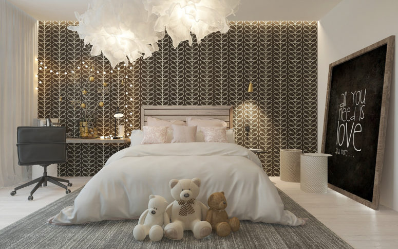 Stylish Girl\'s Room With A Patterned Headboard Wall - DigsDigs
