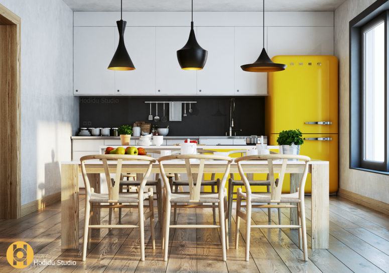 Cozy Modern Kitchen With Sunny Yellow Touches